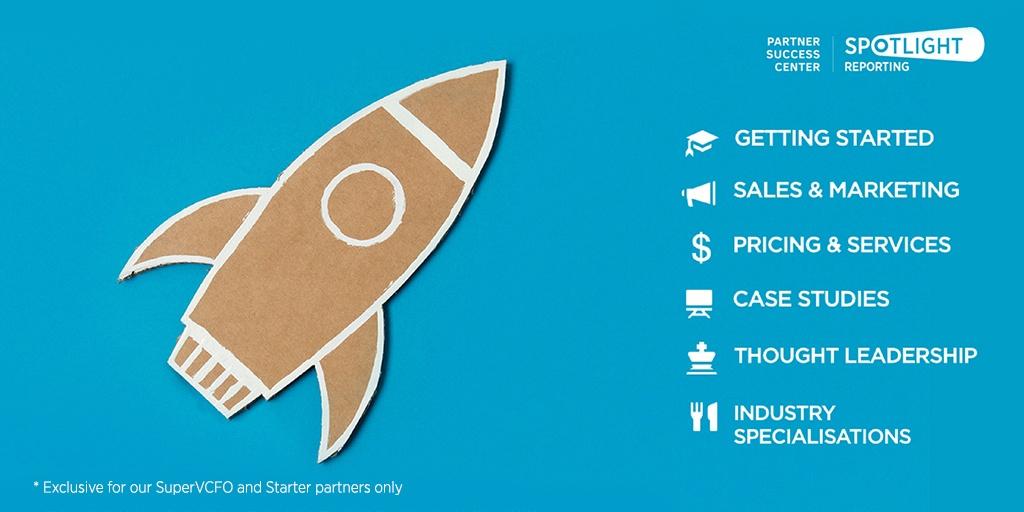 Partner Success Centre by Spotlight Reporting hero image rocket